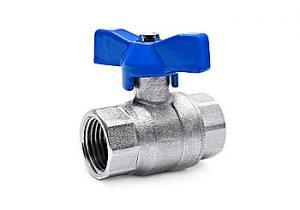 tempering valve with a blue plastic cap