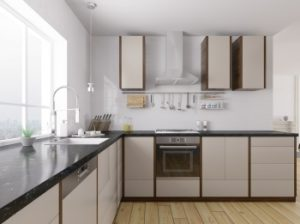 Modern kitchen with gas heating system and gas appliances