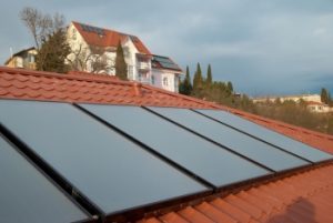 solar hot water system on the red roof